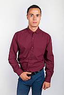 Необычная однотонная мужская рубашка классического кроя белая, бордо, голубая, джинс, светло-серая, синяя, сиреневая, черная, шоколадная