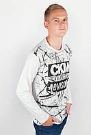 Молодежный мужской свитер из приятного материала с принтом впереди белый, бордо, индиго, серый, серый меланж, темно-синий, электрик