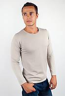 Удобный мужской свитер из приятного трикотажа с круглым вырезом без декоративных деталей и рисунков светло-серый, черный