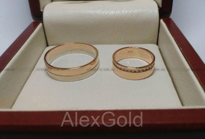Кольца обручальные комбинированное золото