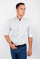 Деловая мужская рубашка приталенного кроя в оригинальную вертикальную полоску бело-черная