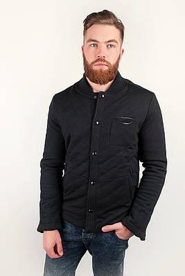 Необычная теплая мужская куртка оригинального кроя с карманчиком на груди черная