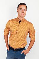 Оригинальная мужская рубашка классического кроя с длинными рукавами из приятного материала в тонкую полоску  горчичная