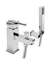 CUBIC, смеситель для ванны на 1 отверстие с душевым комплектом