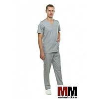 Медицинский мужской костюм Мадрид (серый) № 131