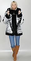 Женская искусственная шуба черно-белая норка  М-52 42-52 размеры