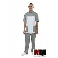 Медицинский мужской костюм Берлин белый/серый №130