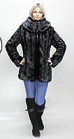 Женская искусственная шуба черная норка  М-52 42-52 размеры