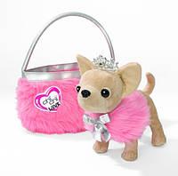 Собачка CCL Чихуахуа - Принцесса красоты в меховом манто с тиарой и сумочкой, 20 см