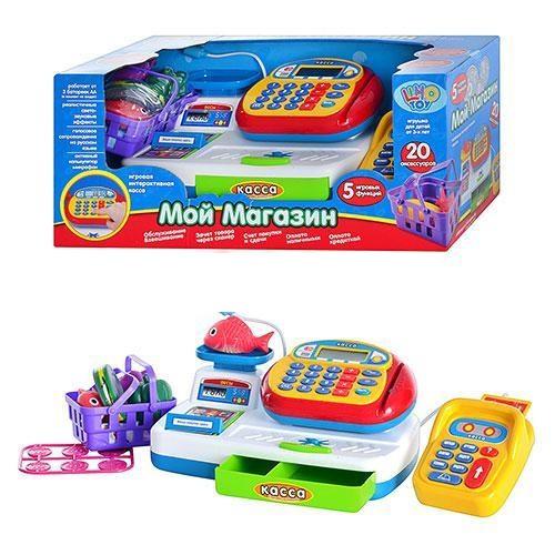 Дитячий ігровий музичний Магазин касовий апарат з мікрофоном і калькулятором Joy Toy 7019