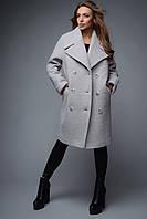Зимнее женское пальто полуприлегающего силуэта на пуговицах с отложным воротником шерсть букле
