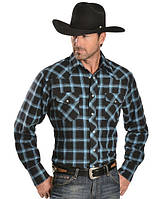 Рубашка Wrangler Two-Tone Blue Plaid 4.5 oz. Flannel Western Shirt - Reg