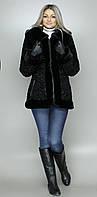 Женская искусственная шуба черный каракуль  М-52 42-52 размеры