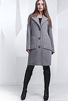 Элегантное теплое женское пальто прямого силуэта с отложным воротником на пуговицах кашемир Турция