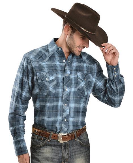 Рубашка Wrangler Blue Plaid 4.5 oz. Flannel Shirt