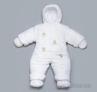 Детский зимний комбинезон Модный Карапуз 03-00411 белый 62