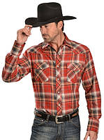 Рубашка Wrangler Men's Plaid 4.5 Oz. Flannel Western Shirt Reg Red
