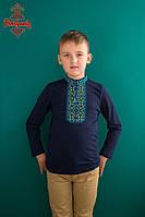 Вишиванка для хлопця Традиційна жовто-блакитна з довгим рукавом