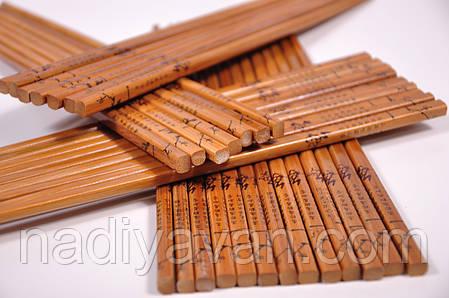 Бамбуковые палочки для еды лакированные 24см, фото 2