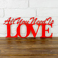 "Слово из фанеры ""All You Need Is Love"" с покраской"