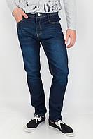 Привлекательные мужские однотонные джинсы оригинального кроя с высокой талией темно-синие