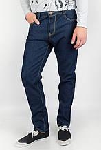 Оригинальные мужские однотонные джинсы со средней посадкой темно-синие