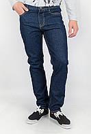 Комфортные мужские однотонные джинсы со средней посадкой без потертостей темно-синие