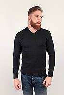 Стильный мужской свитер приталенного кроя с V-образным вырезом темно-серый, черный