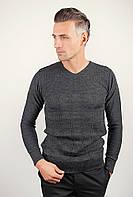 Модный мужской свитер приталенного кроя с V-образным вырезом из приятного материала белый, молочный, светло-бежевый, серый, темно-синий