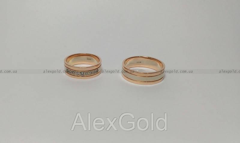 Кольца обручальные белое красное золото