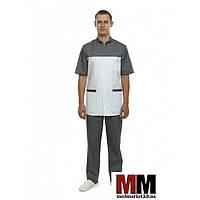 Медицинский мужской костюм Берлин (белый/т.серый) №128