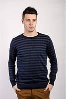 Модный мужской свитер из качественной пряжи в горизонтальную полоску зеленый, коричневый