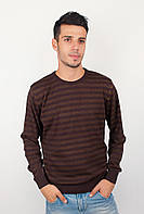 Модный мужской свитер из качественной пряжи в горизонтальную полоску шоколадный