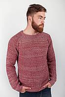 Стильный мужской свитер из оригинальной вязки с круглым воротником без лишних декоративных деталей индиго, сине-бежевый