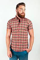 Стильная мужская рубашка из качественного материала в крупную клетку бежево-красная
