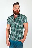Необычная мужская рубашка из качественного материала в мелкую клетку бордо, голубая, зеленая, серая