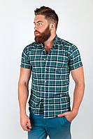 Модная мужская рубашка из качественного материала в крупную клетку бежево-зеленая, голубо-красная, красно-голубая, красно-синяя, серо-голубая,