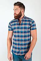 Оригинальная мужская рубашка из качественного материала в крупную клетку сине-голубая