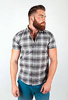 Необычная мужская рубашка из качественного материала в крупную клетку бордо, зеленая, серая