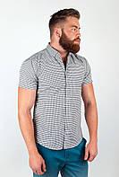 Красивая мужская рубашка из качественного материала в елкую клетку зеленая, серая, коричневая