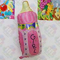 Шар фольгированный Бутылочка с соскойрозовая