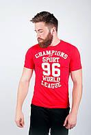 Модная мужская футболка из качественного трикотажа с рисунком на груди красная