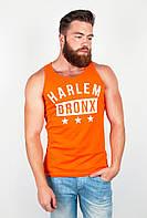 Модная мужская майка из приятного материала с круглым вырезом и принтом на груди оранжевая, синяя, электрик