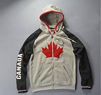 """Брендованая толстовка с гербом и надписью """"Canada"""". Спортивная мужская толстовка на молнии. Код: КБН137"""