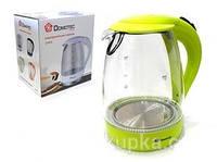 Чайник электрический стеклянный Domotec DT-701 дисковый с подсветкой