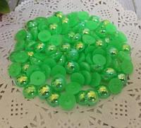 Полубусины жемчужные 6 мм Зеленые радужные 100 шт/уп