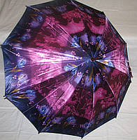 Зонт трость Атлас красно-фиолетовый с деревянным корпусом
