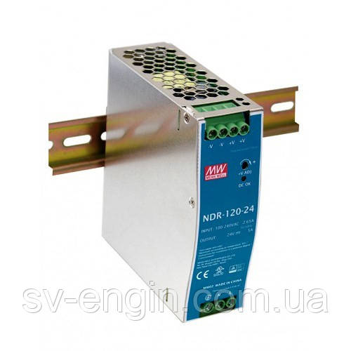 NDR-120-24, NDR-120-12, NDR-120-48 - однофазные источники питания Mean Well (на DIN-рейку)