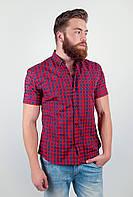 Привлекательная мужская рубашка из приятного материала в оригинальную мелкую клетку с короткими рукавами красно-синяя, сине-черная