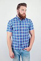 Оригинальная мужская рубашка из приятного материала в привлекательную мелкую клетку с короткими рукавами сине-красная